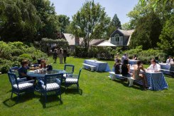 Guests mingle at the Solid & Striped BBQ & Pool Party