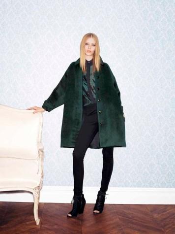 Burberry London Oversized Coat, $1995 - Sheer Jacquard Blouse, $575 - Tuxedo Lambskin-Panel Leggings, $450