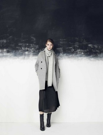 Vince Pleated Midi, $395 - Peacoat, $1295 - Thermal Scarf, $195 - $325