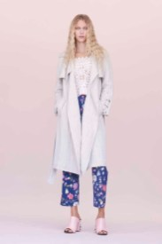 Rebcca Taylor Cotton Trench Coat and Lace Top Spring 2016