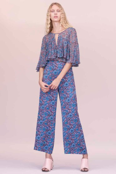 Rebecca Taylor Floral Silk Chiffon Top and Wide Leg Pant