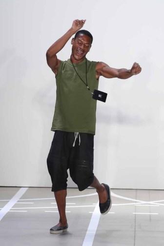 NEW YORK, NY - SEPTEMBER 08: Designer Telfar walks on the runway at the Telfar fashon show during New York Fashion Week: The Shows at The Gallery, Skylight at Clarkson Sq on September 8, 2016 in New York City. (Photo by Neilson Barnard/Getty Images for Telfar) *** Local Caption *** Telfar