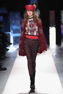 DESIGUAL_NYFW_AW17_ATWALK_LOOK 18 NEW YORK, NY - FEBRUARY 09:A model walks the runway at the Desigual show New York Fashion Week The Shows at Gallery 1, Skylight Clarkson Sq on February 9, 2017 in New York City
