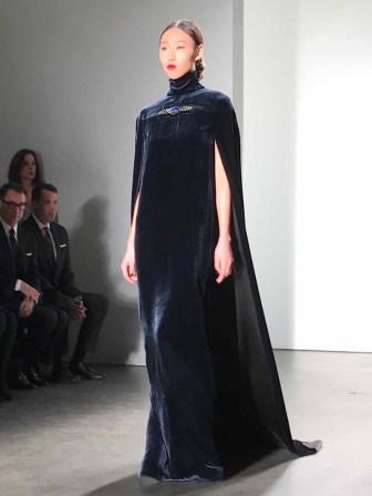 NEW YORK, Feb 13, 2017 - A model walks the runway at the Zang Toi Fall 2017 show held at Pier 59. #NYFW