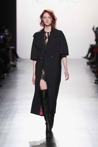 NEW YORK, NY - FEBRUARY 11: A model walks the runway for the Taoray Wang collection during, New York Fashion Week: The Shows at Gallery 1, Skylight Clarkson Sq on February 11, 2017 in New York City. (Photo by Neilson Barnard/Getty Images for Taoray Wang)