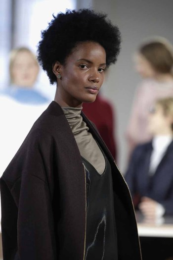 A model at the Perret Schaad presentation during 'Der Berliner Salon' AW 18/19 at Kronprinzenpalais on January 17, 2018 in Berlin, Germany.