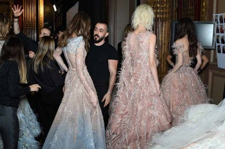 PARIS, FRANCE - JANUARY 24: Designer Ziad Nakad prepares a model ahead of the Ziad Nakad Spring Summer 2018 show as part of Paris Fashion Week on January 24, 2018 in Paris, France. (Photo by Jonathan Philippe Levy/Getty Images For Ziad Nakad) *** Local Caption *** Ziad Nakad