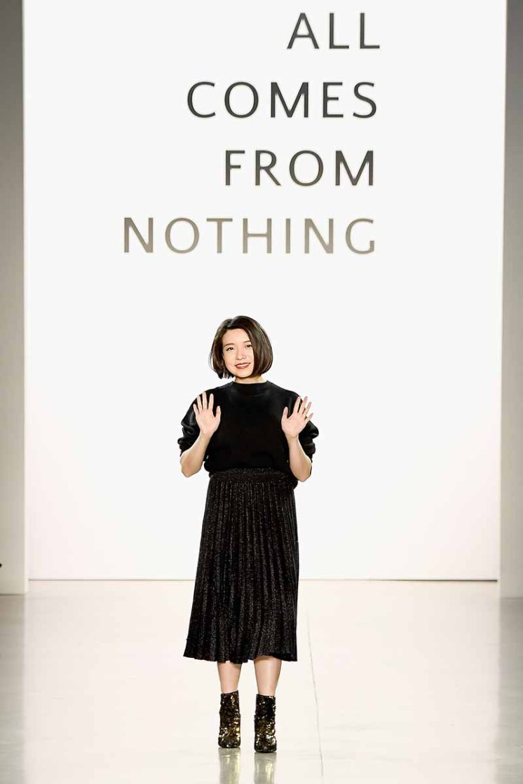 NEW YORK, NY - FEBRUARY 14: Designer Eva Xu walks the runway for the All Comes From Nothing x COOME FW18 show at Gallery II at Spring Studios on February 14, 2018 in New York City. (Photo by Frazer Harrison/Getty Images for All Comes From Nothing)