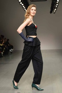 LONDON, ENGLAND - FEBRUARY 16: A model walks the runway at the Marta Jakubowski show during London Fashion Week February 2018 at BFC Show Space on February 16, 2018 in London, England. (Photo by Jeff Spicer/BFC/Getty Images)