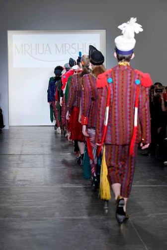 NEW YORK, NY - FEBRUARY 08: Models walk the runway for Global Fashion Collective Presents MRHUA MRSHUA At New York Fashion Week Fall 2018 at Industria Studios on February 8, 2018 in New York City. (Photo by Arun Nevader/Getty Images for Global Fashion Collective)
