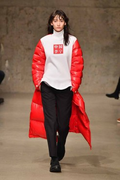 NEW YORK, NY - FEBRUARY 07: A model walks the runway wearing the Li-Ning Fall/Winter 2018 collection during 2018 New York Fashion Week at Skylight Modern on February 7, 2018 in New York City. (Photo by Slaven Vlasic/Getty Images for Li Ning)