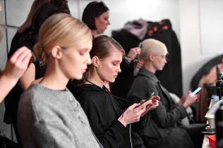 NEW YORK, NY - FEBRUARY 14: Models prepare backstage for Marcel Ostertag during New York Fashion Week: The Shows at Gallery II at Spring Studios on February 14, 2018 in New York City. (Photo by Dia Dipasupil/Getty Images for Marcel Ostertag)