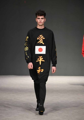 VANCOUVER, BC - SEPTEMBER 23: A model walks the runway wearing The Mongolian Choppsss at Vancouver Fashion Week Spring/Summer 19 - Day 7 on September 23, 2018 in Vancouver, Canada. (Photo by Arun Nevader/Getty Images for VFW Management INC)