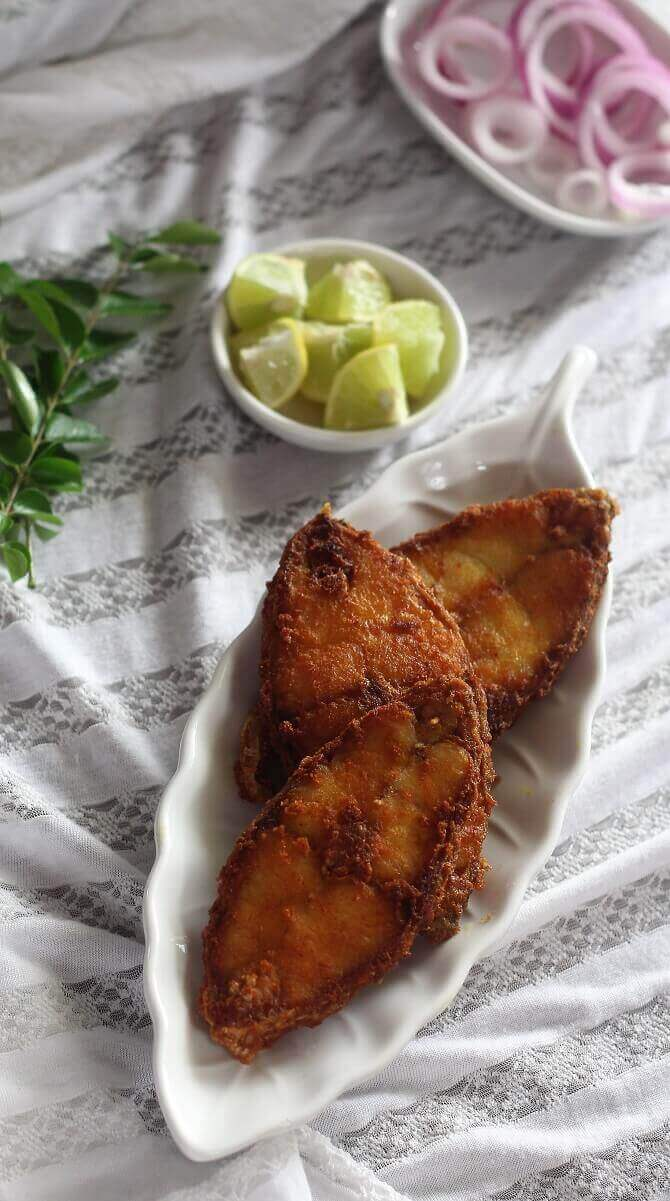indian fried fish in a white plate