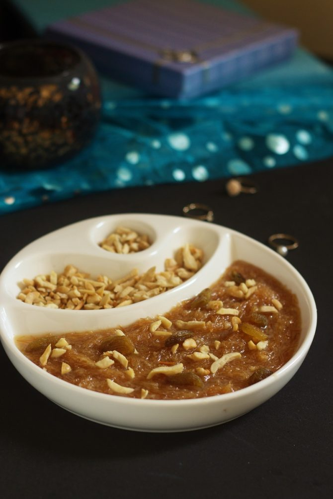 sewai recipe in a white plate with dry nuts for garnish