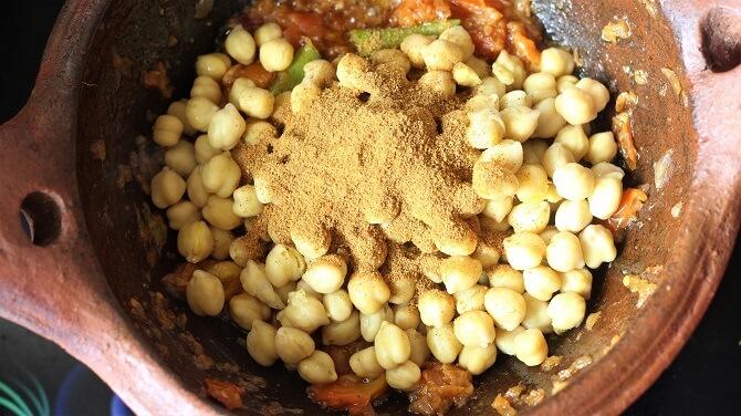 chana masala powder to the chana masala