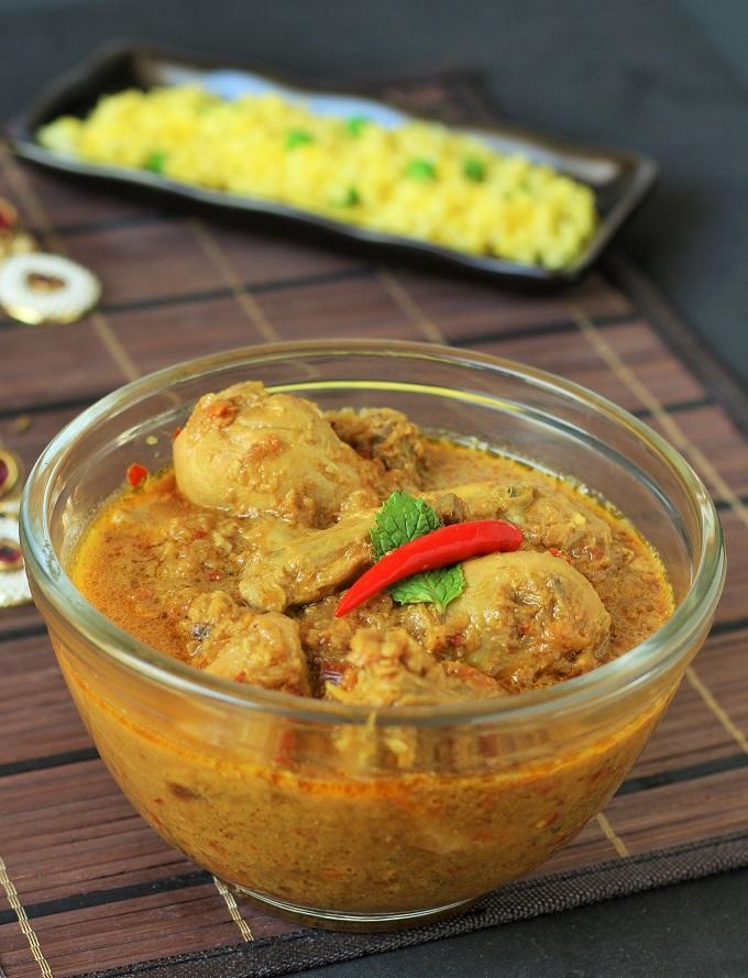 Pahadi Chicken Curry Recipe-pahadi chicken recipe-a chicken gravy recipe made with yogurt and tamarind
