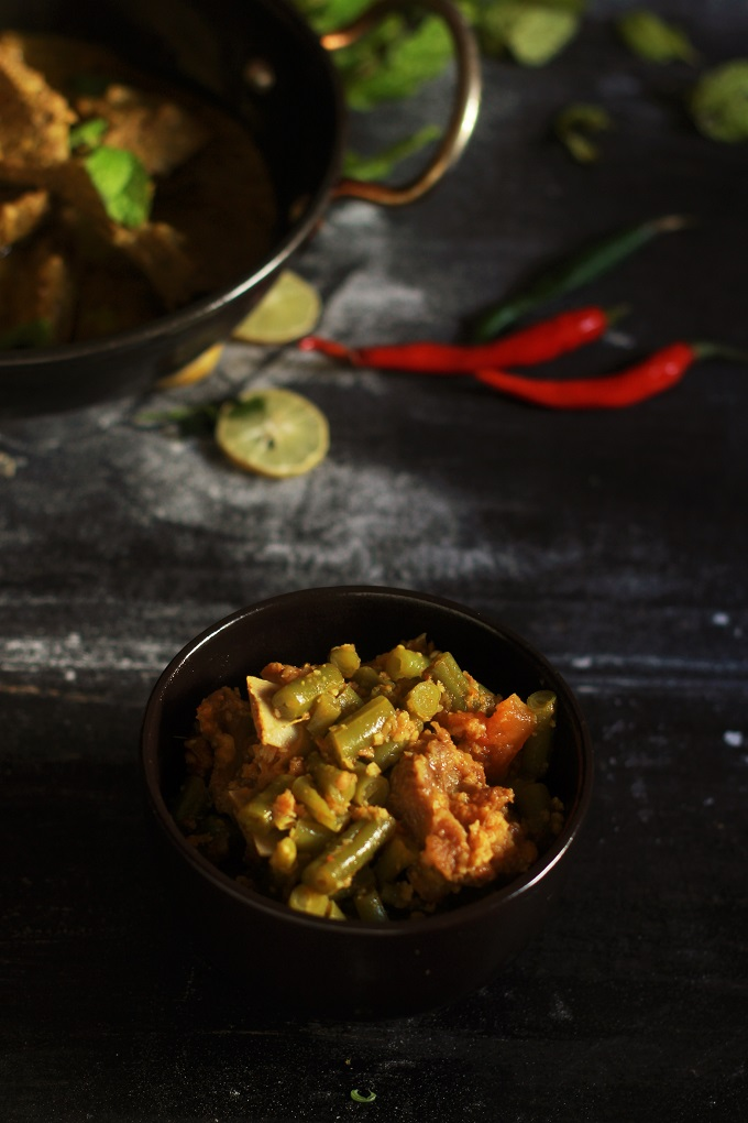 A delicious french green beans with mutton recipe or the beans gosht recipe- A very traditional and authentic beans recipe made in tomato based mutton curry.