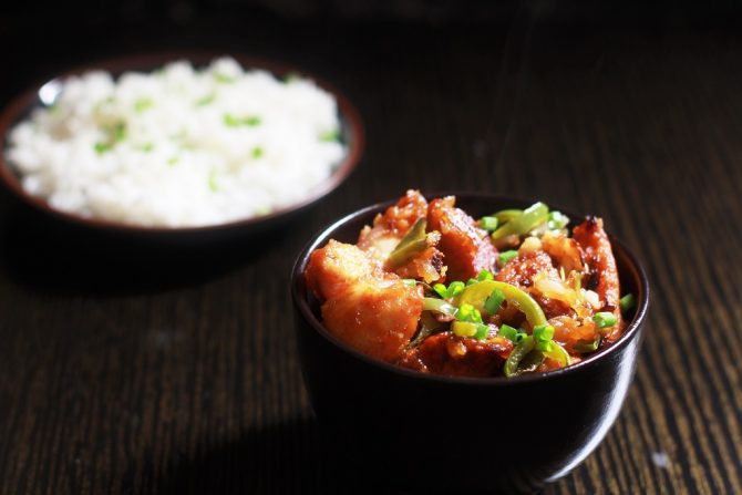 Chicken Manchurian Dry Recipe in a black bowl