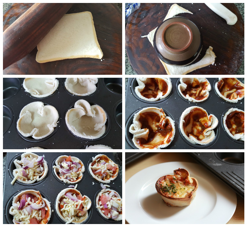 cheese toast muffin collage