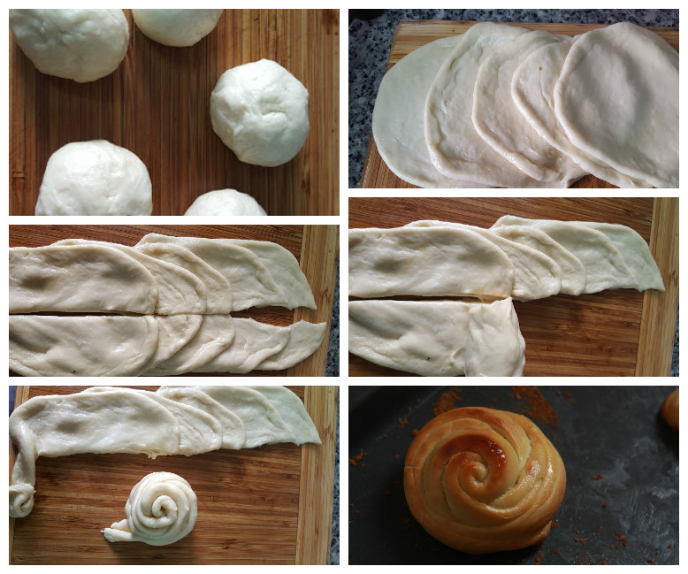rose bun collage