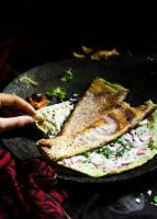 andhra pesarattu dosa recipe served along with chutneys