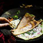 andhra pesarattu dosa recipe served along with chutneys