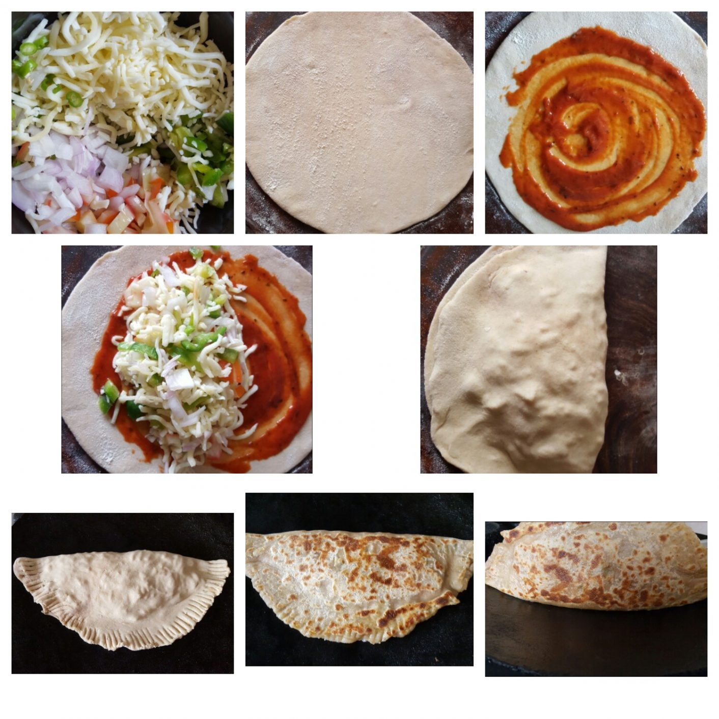 pizza paratha collage