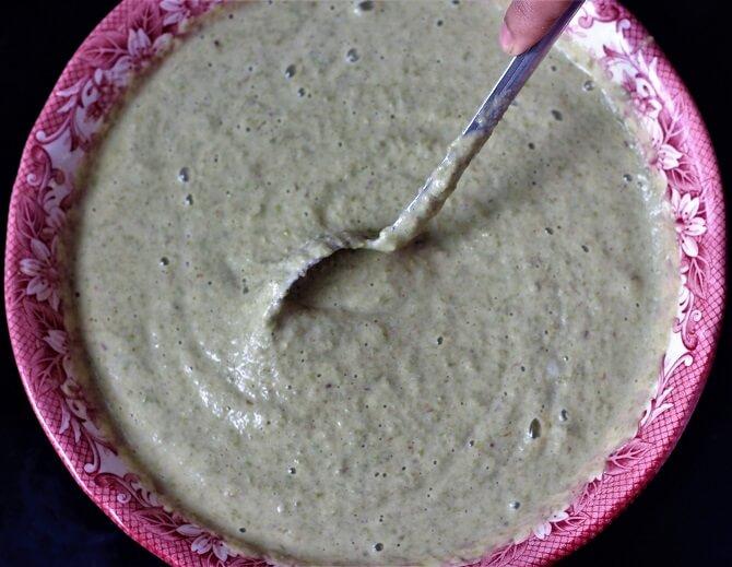 mixing pesarattu dosa recipe