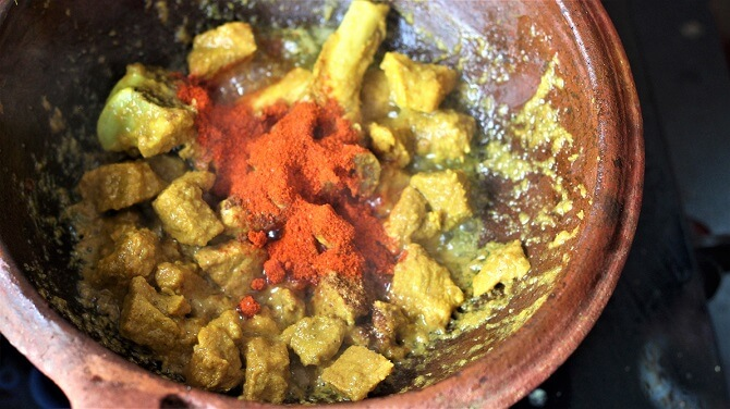 red chili powder in the andhra mutton fry recipe