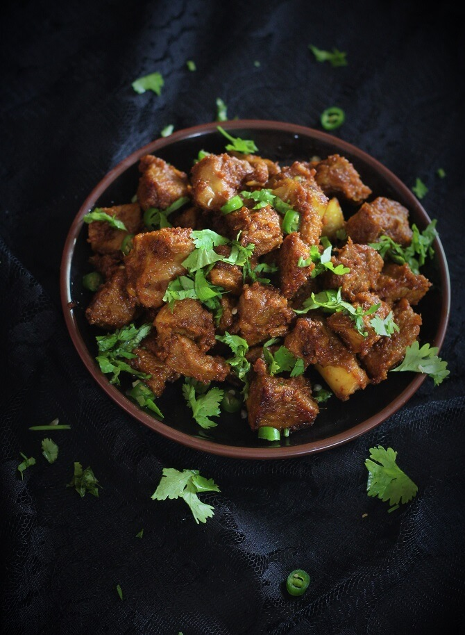 side view of andhra mutton fry recipe