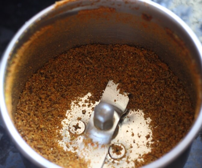 powdered spices in a mixie jar