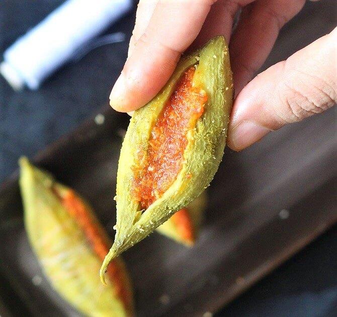 garlic paste stuffed in the boiled karela