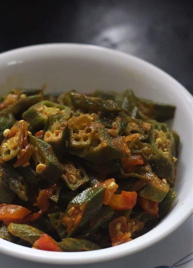 close up view of bhindi masala recipe