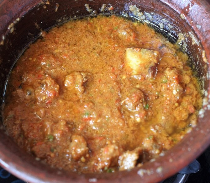 cooking mutton handi on low heat