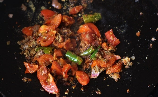 tomato added for making the tawa keema