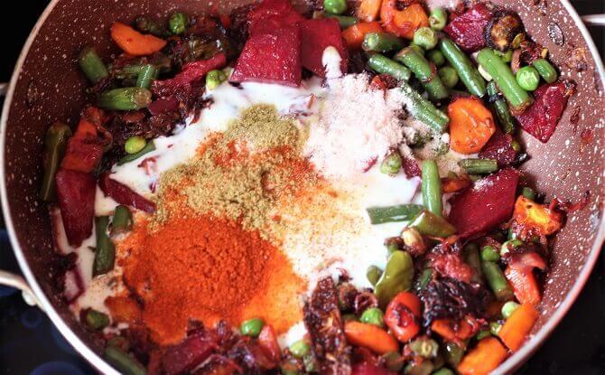 yogurt, spices added for making vegetable pulav