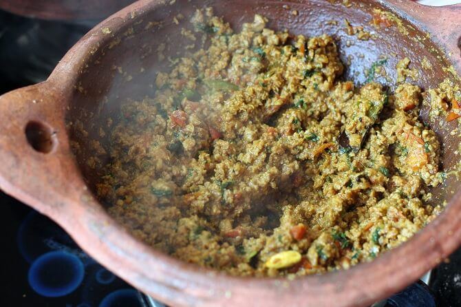 mutton keema recipe getting cooked