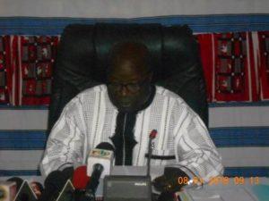 Le Ministre d'Etat et Ministre de la Sécurité, Simon Compaoré, animateur principal de la conférence.