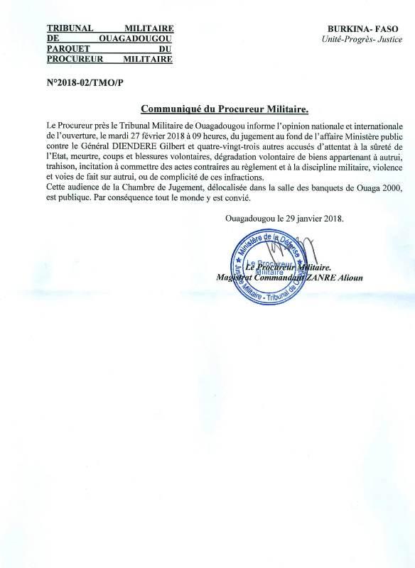 communiqué du Procureur Militaire0002-1