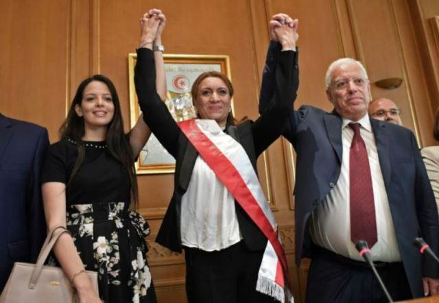 la nouvelle maire de Tunis Souad Abderrahim lors de son intronisation le 03 juillet 2018