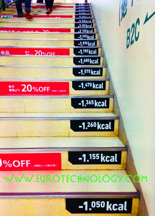 Keep fit and save electricity: geeky way to encourage people to climb stairs and save electricity, seen in Tokyo at Tokyu Hands Shibuya store