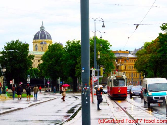 The D tram going along Ringstraße heading for the vineyards of  Nußdorf - the dome of the Natural History Museum in the back ground. There used to be a steam cog railway train up to Kahlenberg from Nußdorf. You can still see the station - its a pub now.