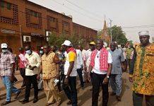 Journée- mondiale- du- travail- à- Ouagadougou, -les- travailleurs- ont- fait –une- marche- pacifique