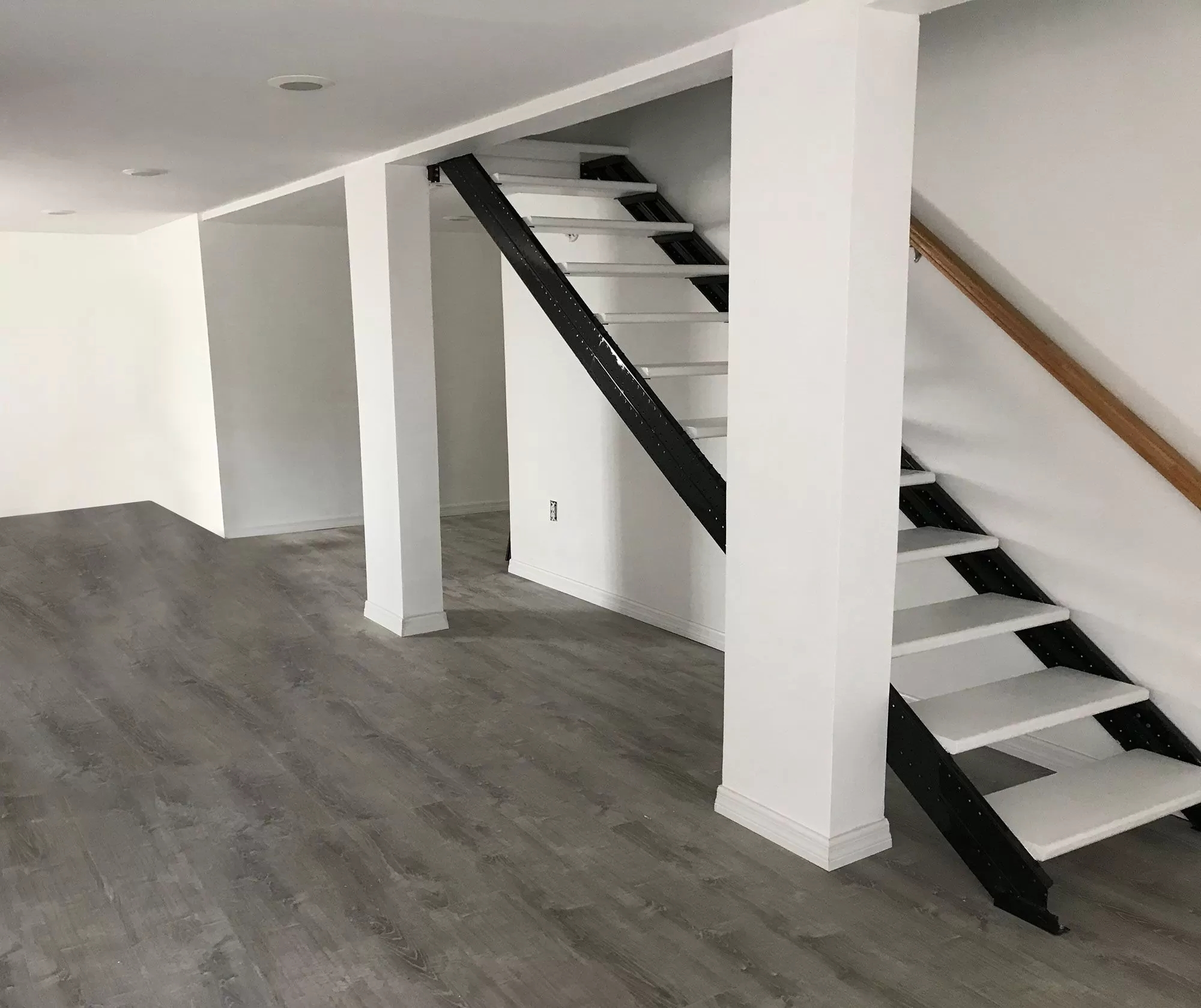 Basement Stair Stringers By Fast Stairs Com   Opening Up Staircase To Basement   Kitchen   Basement Remodel   Banister   Stairwell   Man Cave