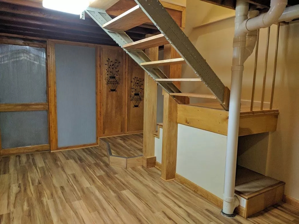 Stair Kits For Basement Attic Deck Loft Storage And More   Folding Loft Stairs With Handrail   Circle Stair   Design   Limited Space   Stairway Osha   Semi Automatic