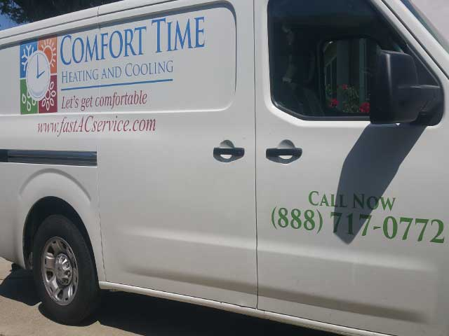One of our beautiful air conditioning and heating repair trucks servicing Whittier California