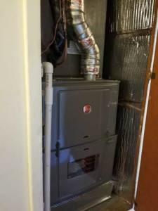 New Rheem Furnace installation in closet In Pico Rivera CA