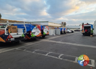 air conditioning and heating repair trucks in the parking lot
