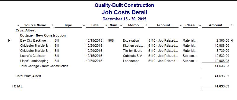 Quickbooks Job Costing Reports